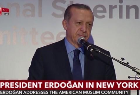 لحظات زد و خورد حین سخنرانی اردوغان