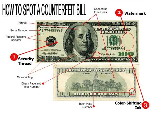 چگونه دلار تقلبی را تشخیص دهیم؟