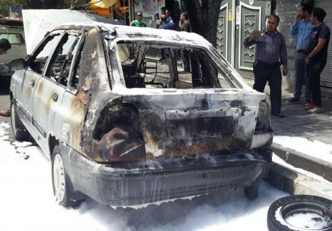 آتش سوزی خودروها در تهران