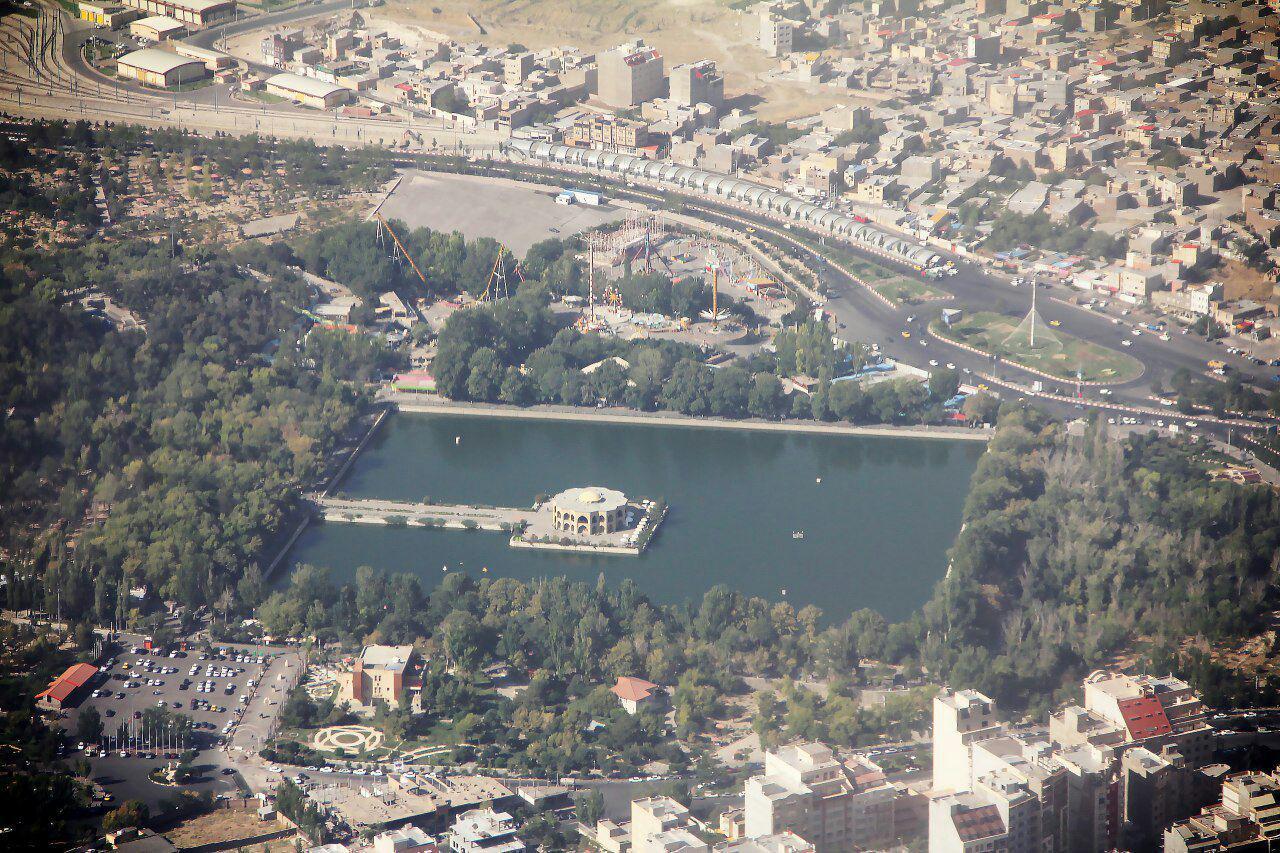 تصویر هوایی از پارک ایل گولی تبریز