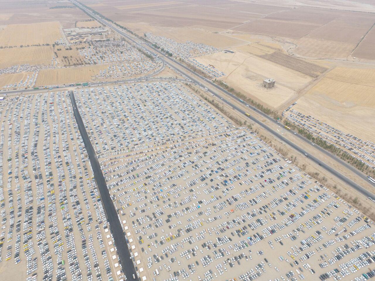 نمایی هوایی از پارکینگ بزرگ اربعین در مهران
