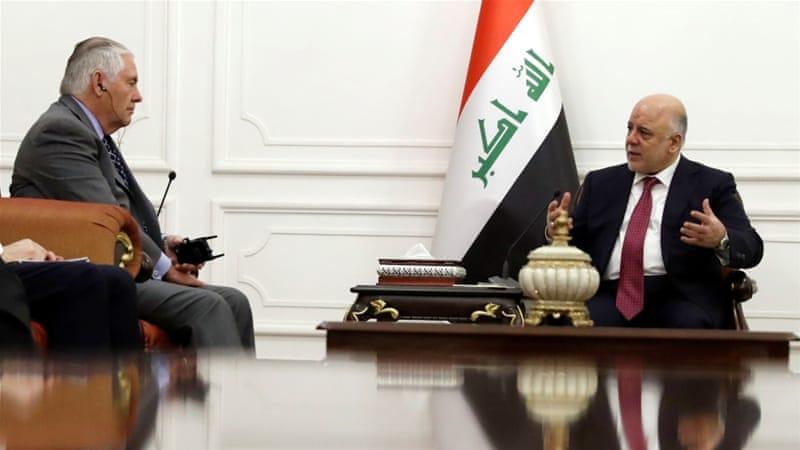 چه کسی باید به خانه برگردد؟ / دفاع حیدر العبادی از حشدالشعبی در دیدار با رکس تیلرسون