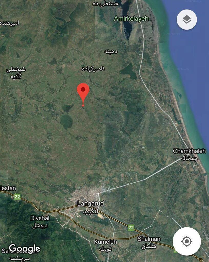 نقشه ماهوارهای کانون زمینلرزه ۴.۸ ریشتری لنگرود