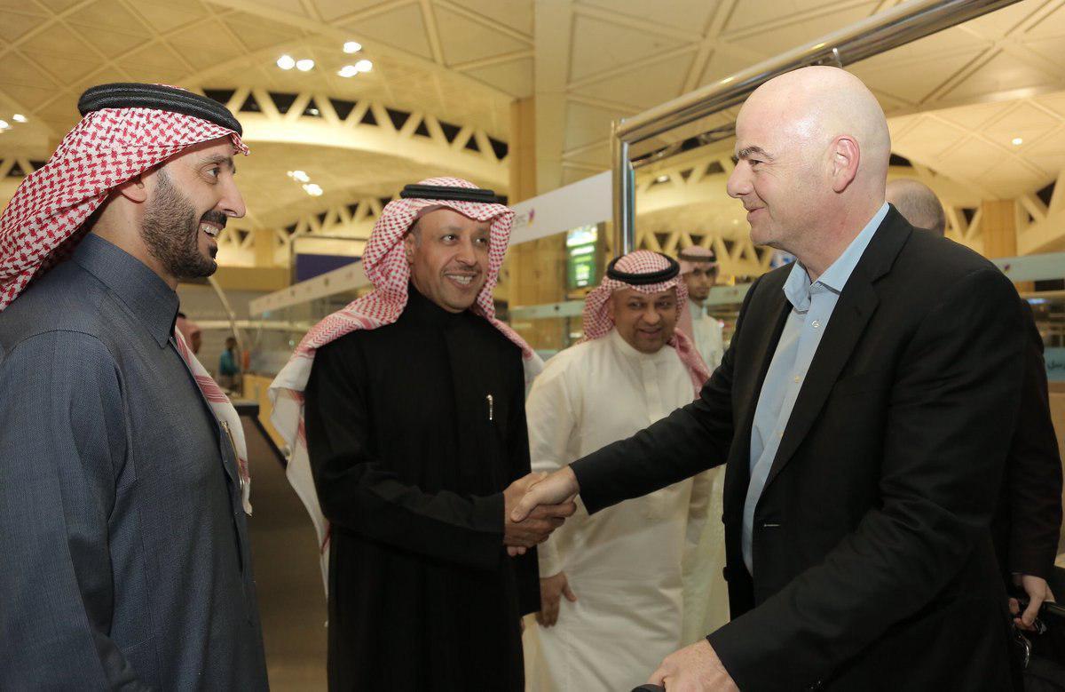 حضور عجیب و مشکوک اینفانتینو در جشن صعود عربستان