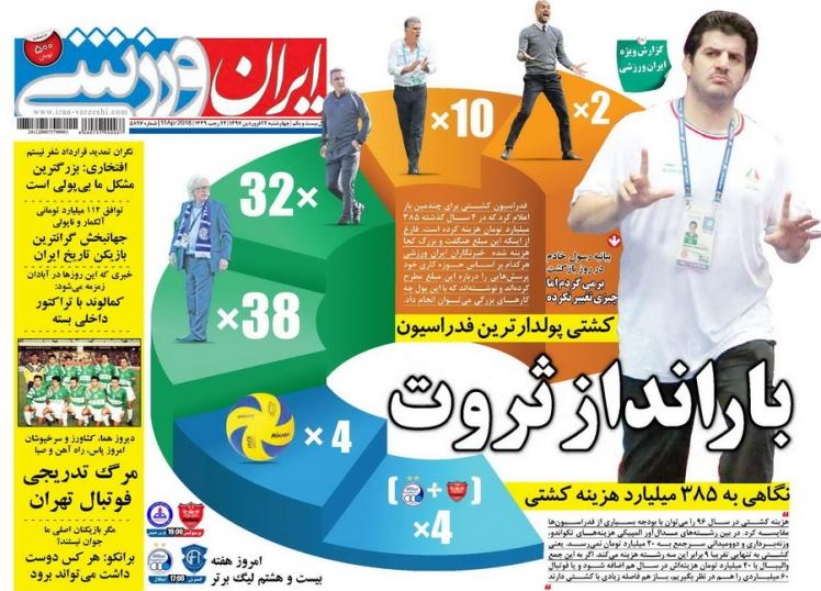 جلد مشکوک روزنامه ورزشی دولت علیه رسول خادم