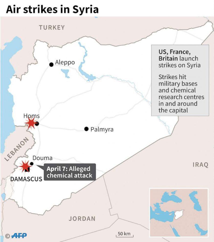 اهداف و مناطق مورد تهاجم آمریکا، انگلیس و فرانسه در سوریه+ نقشه