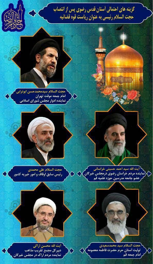 گزینههای تولیت آستان قدس مشخص شدند/ یک خراسانی عضو خبرگان گزینه جدی جانشینی رئیسی