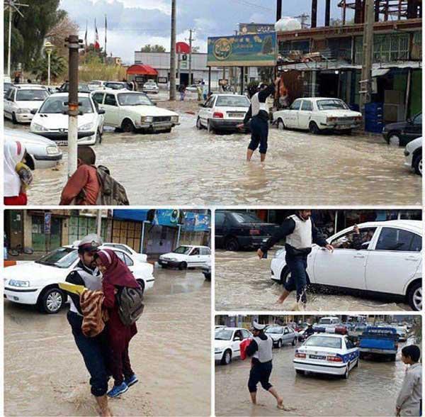اقدام تحسین برانگیز یک پلیس در روز بارانی
