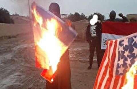 آتش زدن پرچم آمریکا و فرانسه در شمال سوریه