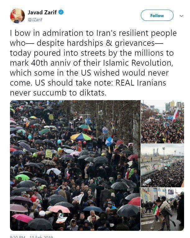 تویئت ظریف به مناسبت سالگرد پیروزی انقلاب