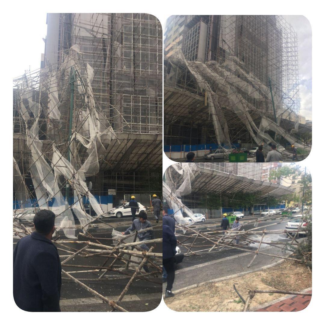 سقوط داربست ساختمان ۱۰ طبقه در سعادتآباد