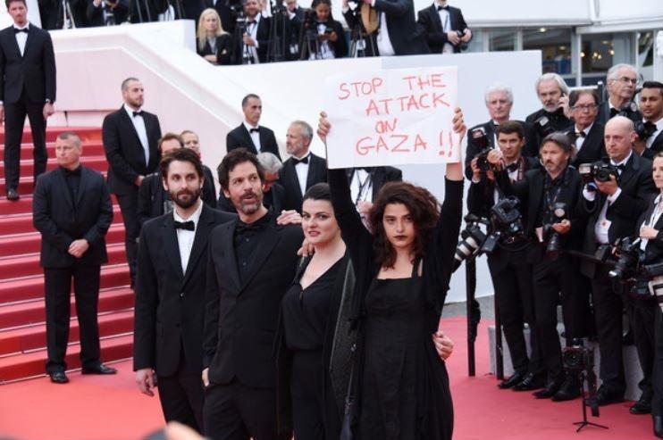 دفاع از مردم غزه روی فرش قرمز جشنواره کن