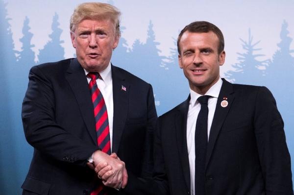 دست دادن ماکرون و ترامپ سوژه شد