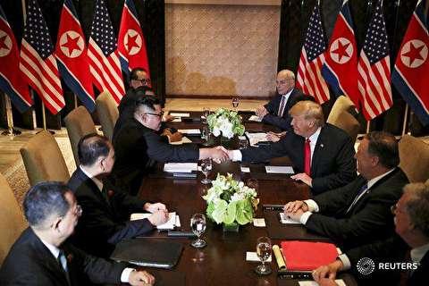 لحظات آغاز دیدار ترامپ و رهبر کره شمالی