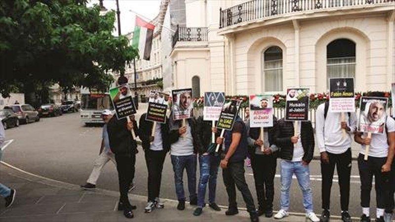 تجمع فعالانحقوقبشر مقابل سفارتامارات در لندن