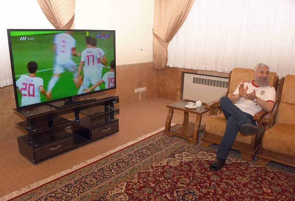 شادی روحانی بعد پیروزی ایران برابر مراکش