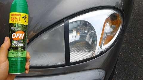 استفاده از اسپری حشره کش برای تمیز کردن چراغهای خودرو