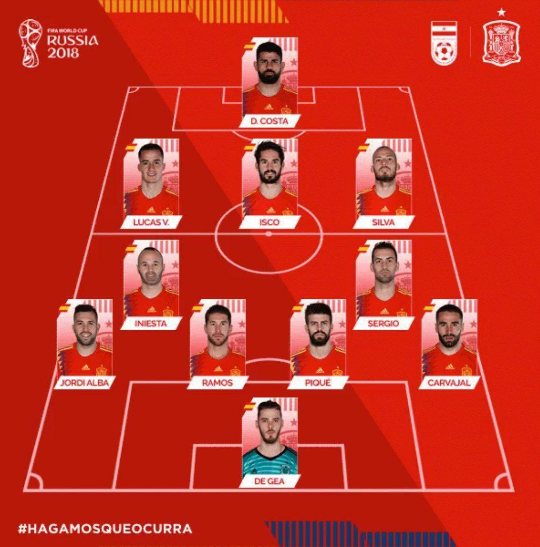 ترکیب اسپانیا برای دیدار مقابل ایران