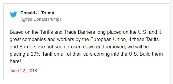 ترامپ اروپا را تهدید به وضع تعرفه ۲۰ درصدی خودرو کرد