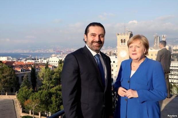 دیدار مرکل و سعد حریری در بیروت