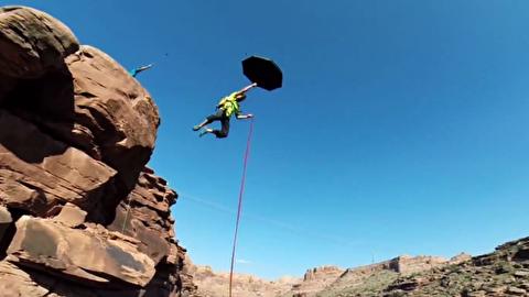 تاب خوردن با طناب از 83 متری