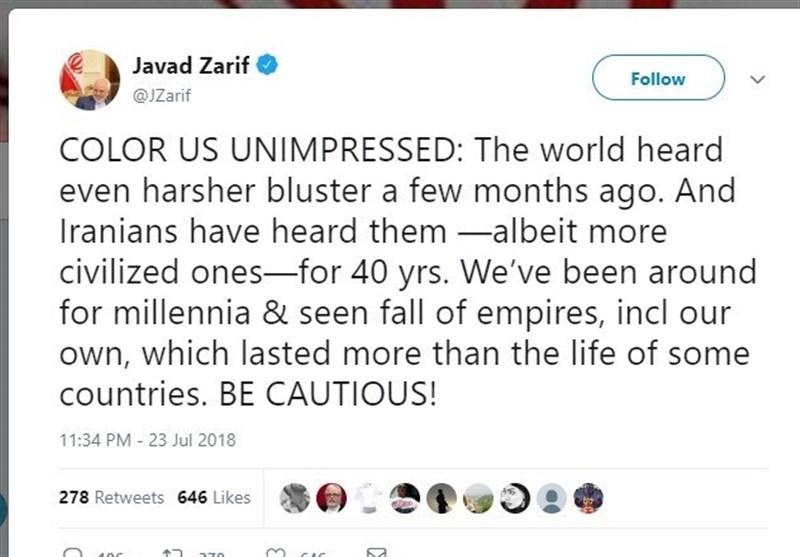 جنگ توییتری ایران و آمریکا/ توییت خواندنی ظریف در پاسخ به توییت تهدیدآمیز ترامپ/قدردانی نتانیاهو از ترامپ و پوتین/تحلیل روزنامه آمریکایی در مورد «تئوری مرد دیوانه» ترامپ در برابر ایران/صدور حکم دیوان بینالمللی دادگستری درباره اختلاف قطر و امارات