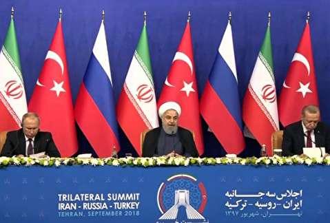 مذاکره پوتین، اردوغان و روحانی مقابل دوربینها