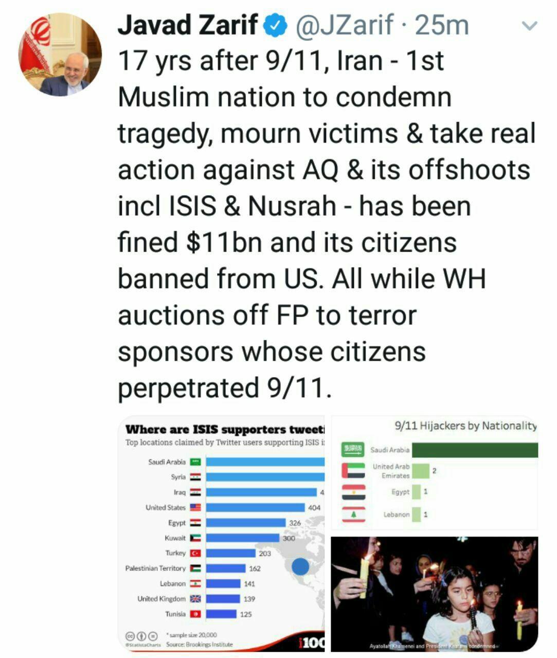 توئیت ظریف در سالگرد ۱۱سپتامبر