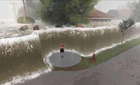 نمایش قدرت طوفان فلورانس با واقعیت افزوده
