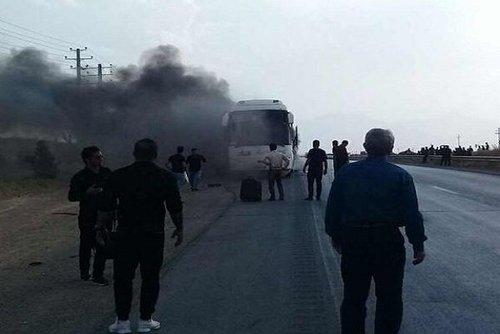 حریق اتوبوس مسافربری در جاده همدان-تهران