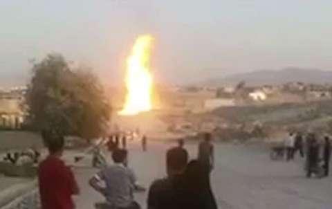 آتش سوزی خط لوله گاز در باغ ملک