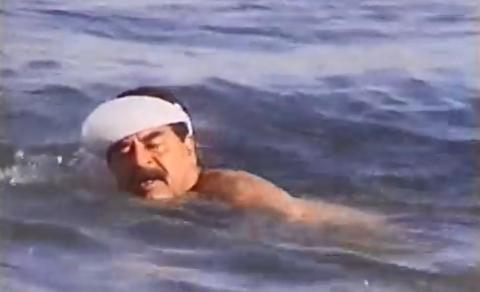 شنای صدام حسین در دجله به یاد کودتای نافرجام!