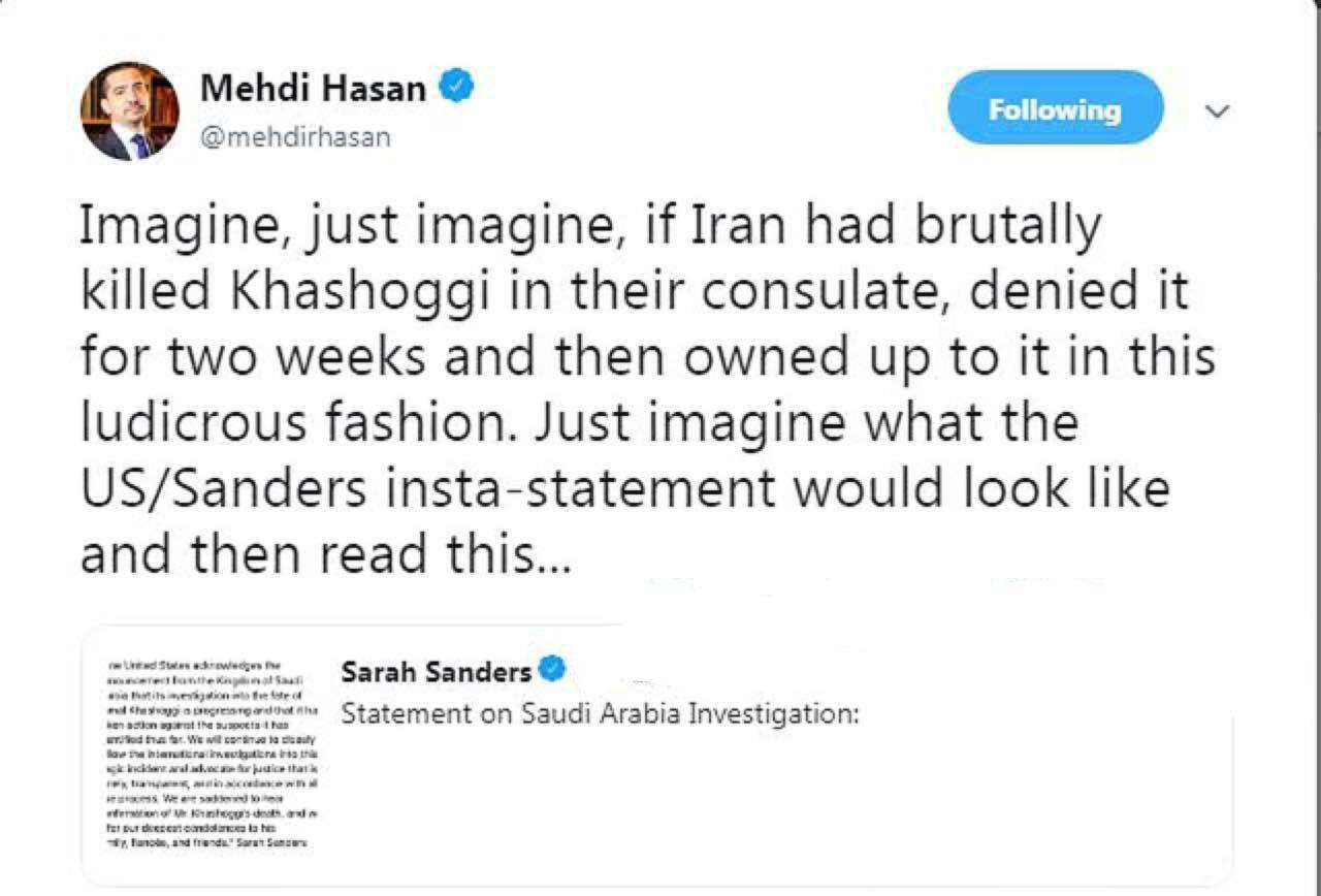 مجری مشهور الجزیره: تصور کنید ایران خاشقجی را می کشت!/