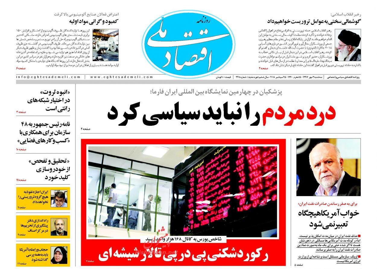 روزنامههای اقتصادی سه شنبه سوم مهرماه ۹۷