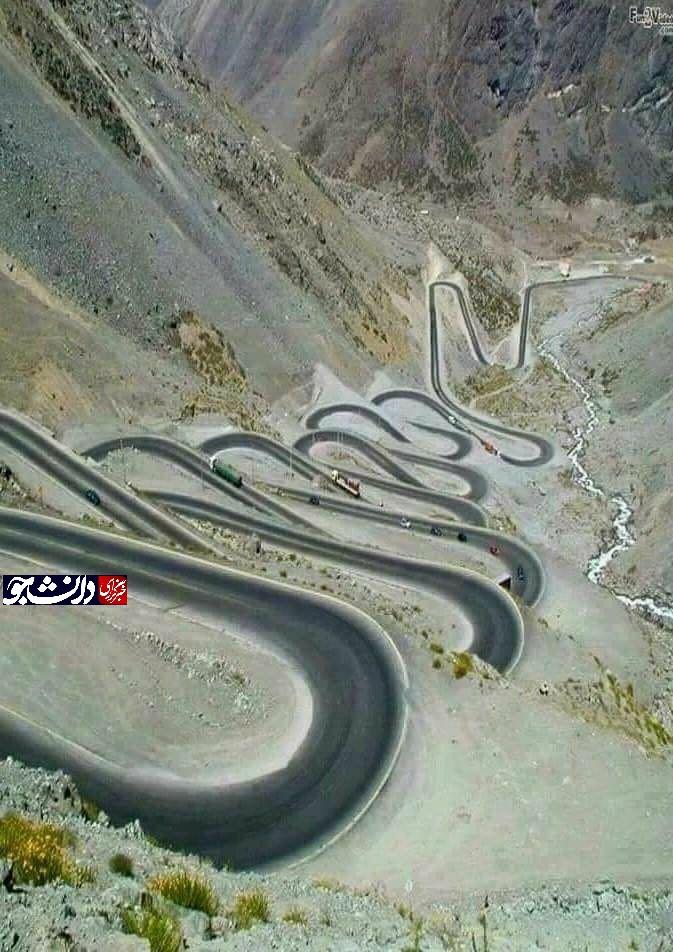 جاده ای پیچ در پیچ در شهر پاوه