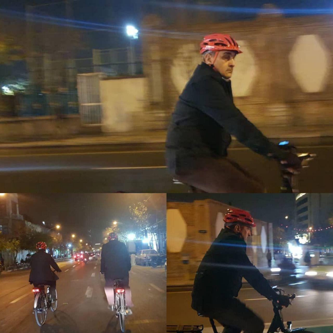 شهردار تهران با دوچرخه در مسیر برگشت به خانه