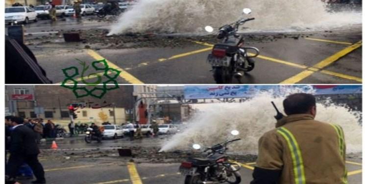 لوله اصلی آب تهران در منطقه ۲ ترکید