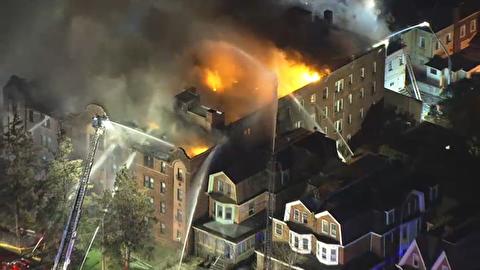 آوارگی ساکنان یک ساختمان به دلیل آتشسوزی