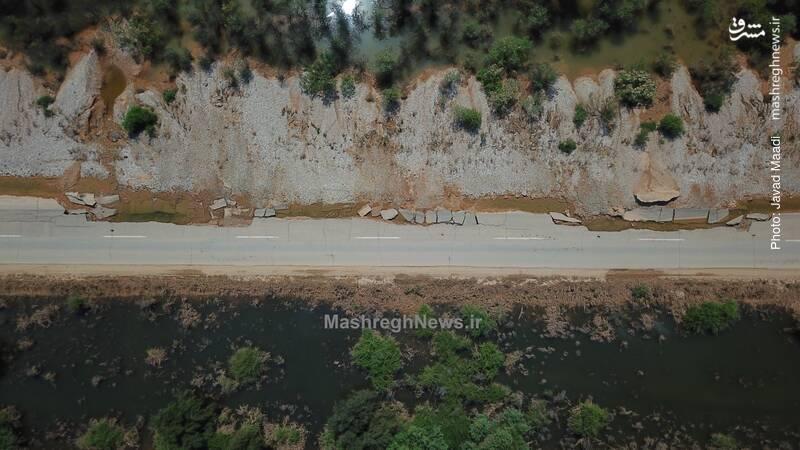 تصویر هوایی از تخریب جاده شوش به شوشتر در سیل
