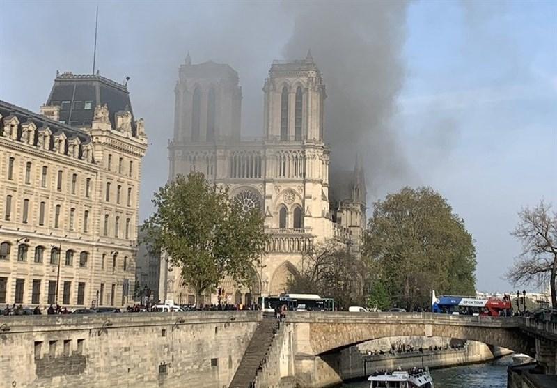 آتشسوزی شدید در کلیسای نوتردام شهر پاریس