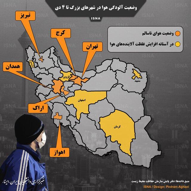 اینفوگرافیک: وضعیت آلودگی هوا در شهرهای بزرگ ایران
