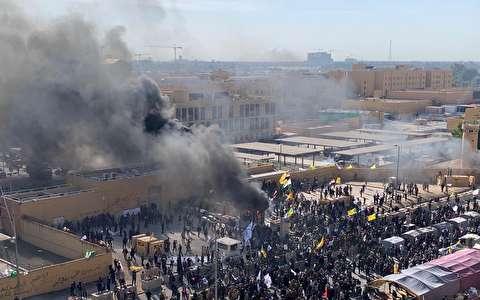 تظاهرات در اطراف سفارت آمریکا در عراق