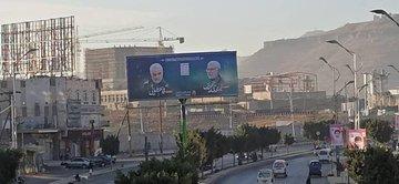 نصب تصاویر شهید قاسم سلیمانی در پایتخت یمن