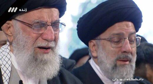 فرازی از نماز رهبر انقلاب بر پیکر سردار، که اشک ریختند