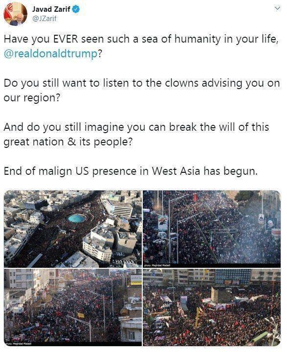 ظریف به ترامپ: آیا چنین «دریای انسانی» دیدهای؟
