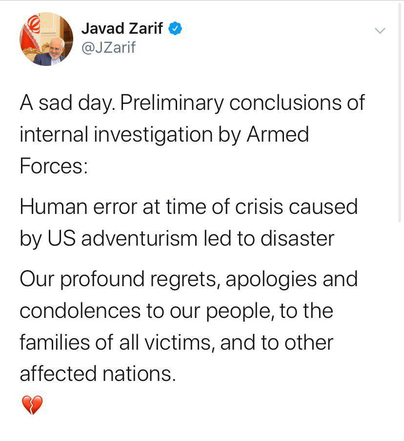 ظریف: عمیقا پشیمانیم