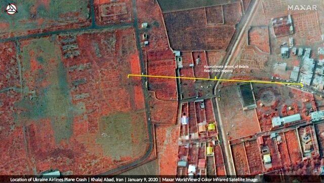 تصوبر ماهواره آمریکایی از محل سقوط هواپیمای اوکراینی
