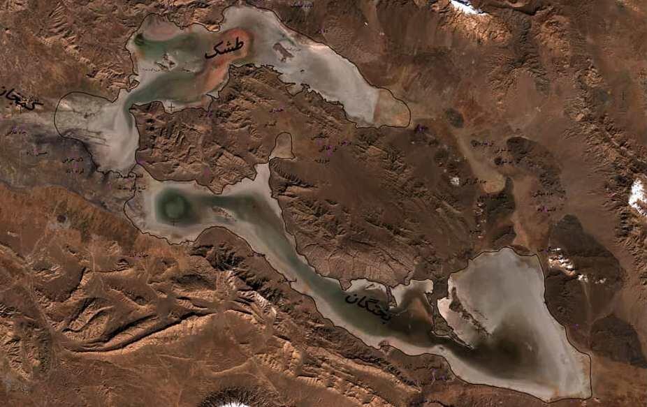 عکس های ماهواره ای تالاب های فارس قبل و بعد از بارندگی