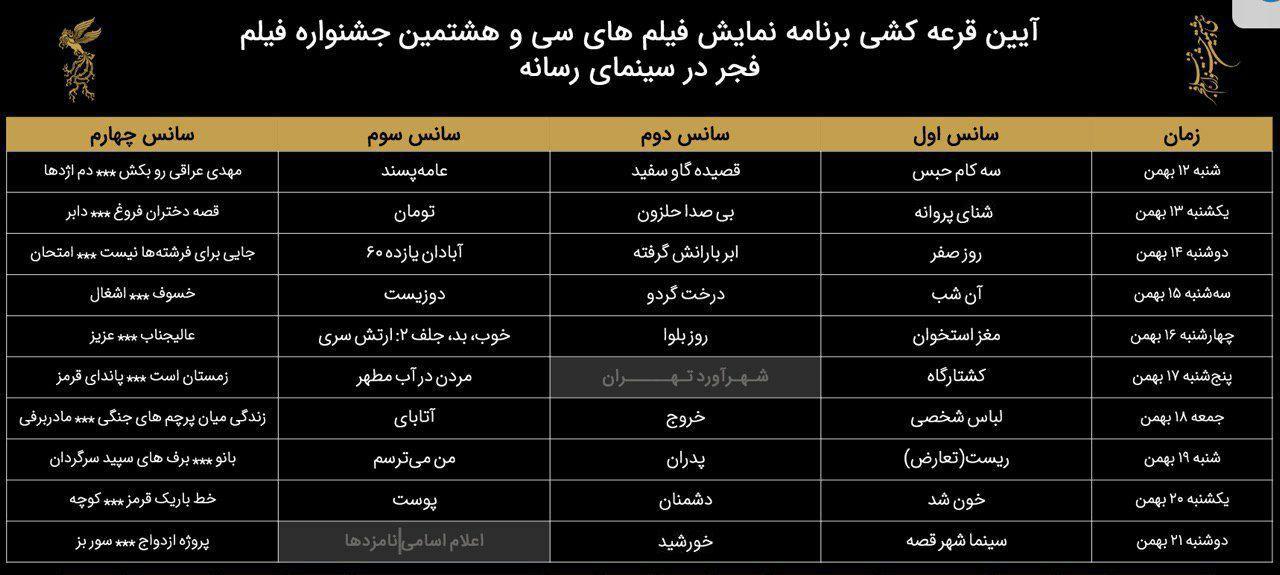 افتتاح جشنواره فیلم فجر سی و هشتم با سه کام حبس