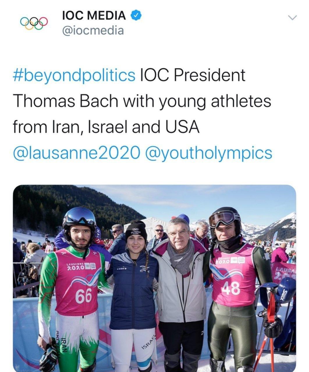 عکس جنجالی رییس IOC؛ ورزشکار ایرانی و اسراییلی کنارهم!